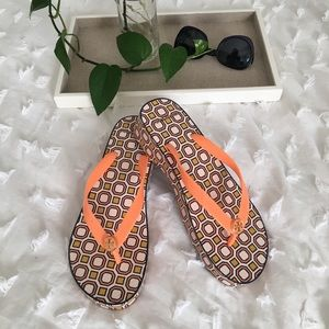 Tory Burch Geometric Wedge Flip Flop, Size 8